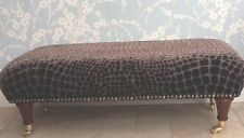 A Quality Long Footstool In Designers Guild Nabucco Cocoa Fabric