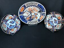LOT 3 ANCIENS PLATS IMARI JAPON GRAND PLAT OVAL 1 PAIRE PLATS RONDS SIGNE C1582