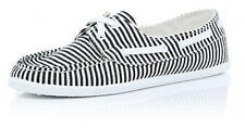 NEW RIVER ISLAND NAUTICAL BLACK WHITE BOAT DECK LOAFER LACE UP SHOES 7 40 9