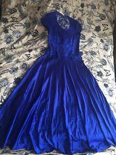Royal Blue Chiffon Silk, Long V Neck And Back Satin Lace Evening Dress 12 Size