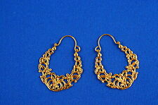 Intricate And Dazzling Egyptian Arabesque 24k Gold Vermeil Earrings