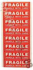 """5 X FRAGILE HANDLE WITH CARE 1"""" x 3"""" Sticker Sheets, Easy Peel & Apply - 40 ct"""