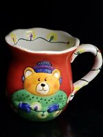 Clay Art Teddy Bear and Christmas Lights Coffee Mug Cup