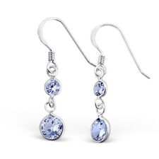 Sterling Silver Hanging Circles Earrings with Cubic Zirconia