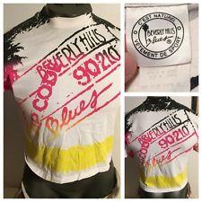 90s Neon Beverly Hills 90210 Blues Crop Gym Workout T-Shirt Wave Crush Surf L XL