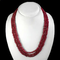 TOP EXCLUSIVE QUALITY 373.50 CTS NATURAL 3 STRAND FACETED RED RUBY NECKLACE $$$
