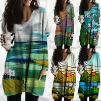 Women Fashion Landscape Painting Print V-neck Long Sleeves Loose Tops Blouse