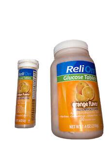 ReliOn Glucose Tablets Orange Flavor 50 Tablets Plus On The Go Tube W/ 10 Tablet