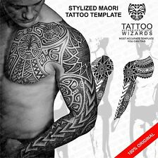 Awesome Maori Polynesian WARRIOR Sacred Tattoo Stencil Template Stylized