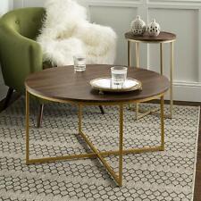 Walker Edison 2-Piece Round Coffee Table Set- Dark Walnut/Gold New