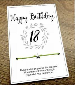 🌟Happy 18 30 40 50 Birthday Star Friendship Wish bracelet Gift Present Quote 💜