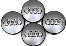 4 Pcs, Audi, Gray, Chrome Logo Center, Wheel Hub Cap, 60mm, A3, A4, A6, A8, S4