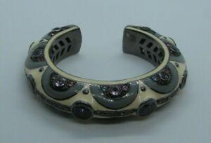 "MATTHEW CAMPBELL LAURENZA Sterling Silver Enamel Gemstone Bangle Bracelet 7"""