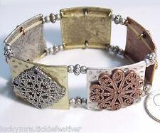 Wide Panel Bracelet, Square Copper-Brass-Silver Tones w/Filigree Medallions