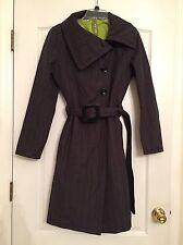 Soia & Kyo Woman's Long Trench Coat - Black/Gray Plaid - Medium