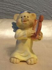 "ANGEL TEDDY BABIES FIGURINE TEDDY BABY PLAYING HARP 2-1/4"" TALL ---------- EUC"