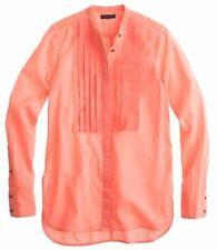 NWT J Crew Grosgrain Ribbon Shirt in Neon Flamingo Orange SZ 0