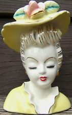 lefton hat lady headvase planter with pink flower gold trim japan 1940s vintage