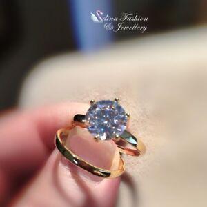 18K Yellow Gold Filled Diamond Round Cut 3.0 ct Engagement Wedding Ring Set