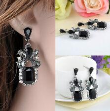 1 Pair Zircon Diamond Jewelery Black Earrings Ladies Alloy Droplets  Elegant