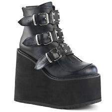 Demonia SWING-105 Women's Black Vegan Leather Platform Buckled Strap Ankle Boot