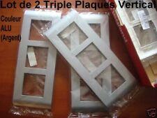 Lot 2 Plaques Couleur Acier,pour 2 ou 4 Modules,75187 Ancien Mosaic 45 LEGRAND