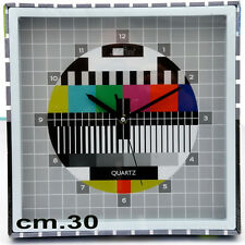 Orologio Analogico Da Parete Multicolor Test TV Reticolo Segnale TV Quartz 30 cm