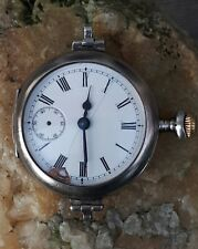 MENS RARE EARLY 1900's OMEGA TRENCH WATCH SOLID SILVER SWING LUGS HINGE CASE TLC