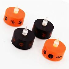 4x Halloween LED Flameless Flickering Tea Lights Battery Operated Candles