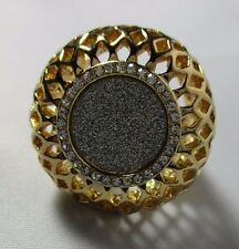 Ring Large Filigree Dome Band Gold and Silver Sparkle Rhinestones Size 9 NWT T15