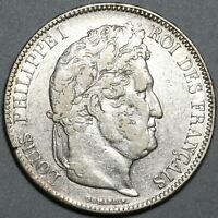 1834-T France 5 francs Louis Philippe AU Nantes Mint Silver Coin (19111202R)