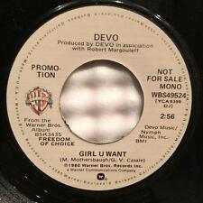 "DEVO GIRL U WANT~VG++ 1980 PROMO ONLY MONO/ STEREO 7""~PUNK NEW WAVE~MOTHERSBAUGH"