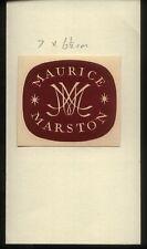 20th Century Ex Libris Book Plate - MAURICE MARSTON