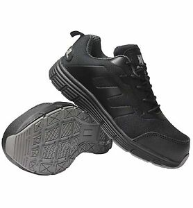 MENS BLACK LADIES  WIDE FIT PLASTIC TOE CAP SAFETY  LIGHT WEIGHT TRAINERS  SHOES