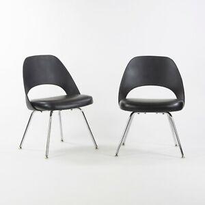 C. 2014 Eero Saarinen for Knoll Executive Armless Dining Chair Black with Chrome