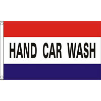 Hand Car Wash Flag 5Ft X 3Ft Garage Advertising Valet Banner With 2 Eyelets New