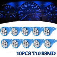 10Pcs T10 8SMD Blue LED Car Truck Dash Gauge Speedometer Instrument Panel Light