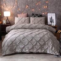 Luxurious Solid Color Pinch Pleat Velvet Duvet Cover Bedding Cover Set 3Pcs