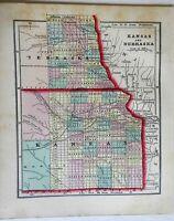 Nebraska & Kansas Territory Map 1856 Morse Cerographic miniature map