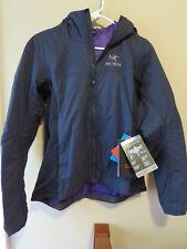 Womens New Arcteryx Atom LT Hoodie Jacket Size Medium Color Black Saphire
