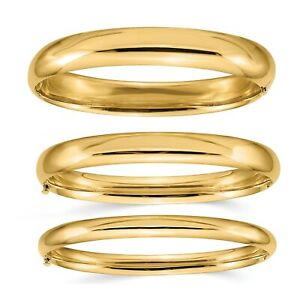 14K Solid Gold Bangle Bracelet for Women Hinged Simple Stackable Cuff Layering