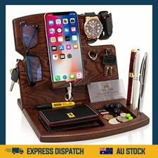 Wood Phone Docking Station Natural Ash Hooks Key Holder Wallet Watch Stand Watch