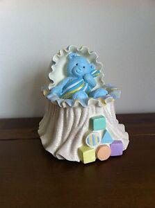 Baby Boy Blue Teddy Bear Money Bank/Box Nursery Gift Crib