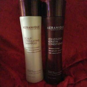 KERANIQUE Volumizing Keratin Conditioner & Scalp Stimulating Shampoo 8 Oz bottle
