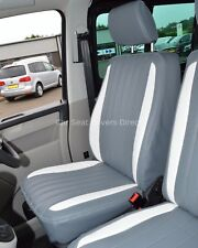 VW Transporter T5 Genuine Fit Quilted Van Seat Covers Grey & White Flutes