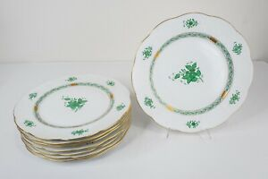 """Herend Hungary Chinese Bouquet Green 527 Charger Service Plates Set of 8-11 1/4"""""""