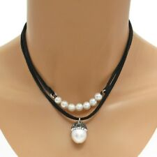 "Genuine Freshwater Pearl, Hematite, and CZ Acorn Pendant & 17"" Necklace"