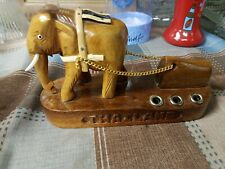 "Wooden ""Working Elephant"" Figurine - Made In Thailand Pencil holder"