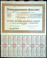 Etablissements Quillery, actions de 100 Nouveaux Francs 1963 - N°0024583