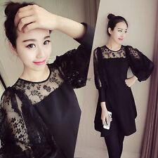 Korean Women Lace Hollow Summer Evening Party Cocktail Slim Black Dress Plus SZ